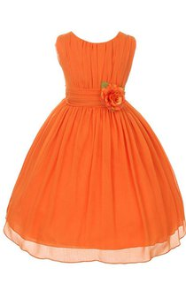 Cap-sleeved A-line Dress With Flower and Pleats