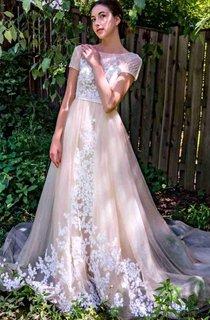 A-line Short Cap Sleeve Chapel Train Tulle&Lace Dress With Appliques&Button