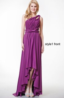 Convertible Ruffled A-line High-low Jersey Dress With Pleats