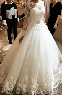 Elegant Tulle Lace Appliques Princess Wedding Dress 2016 Long Sleeve