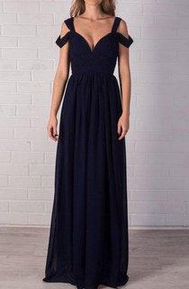 Evening Beautiful Navy Blue Bridal Bustier Maxi Chiffon Prom Full Length Sexy Bridesmaid Dress
