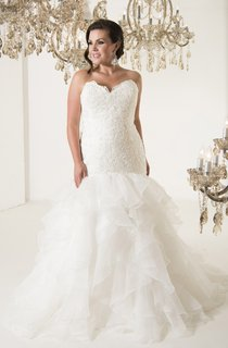 Trumpet Long Sweetheart Sleeveless Organza Chapel Train Corset Back Ruffles Dress