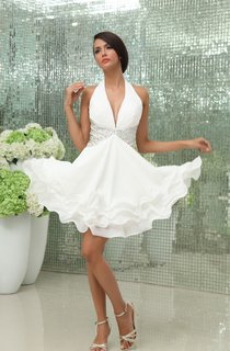 Chiffon Plunged Dress With Crystal Detailing And Ruffled Hem