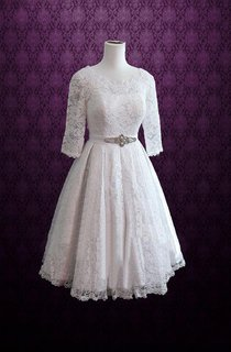 Tea Length Scoop Neck And 3 4 Length Sleeve Dress With Beading And Pleats