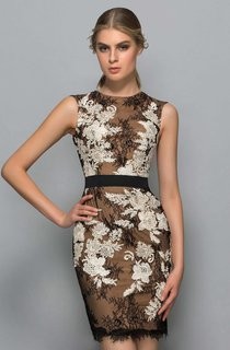 Sleeveless Short Sheath Lace Dress With Appliques