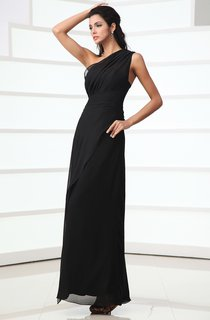 Unique Asymmetrical One-Shoulder Ankle-Length Dress With Ruching And Ruffle