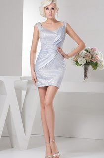Strapped Fitted Short Dress with Sequined Bodice
