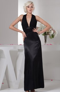 Plunged Satin Ankle-Length Dress with Ruching and Halter