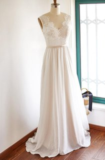 V-neck Sleeveless Chiffon Wedding Dress With Top And Sweep Train