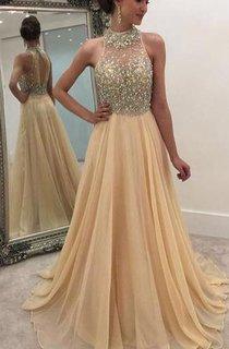 High Neck Sleeveless Long Chiffon Dress with Beadings