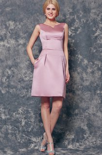Brilliant Sleeveless A-line Short Satin Dress
