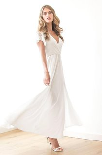 Plunged Lace Short Sleeve Chiffon Split Front Ankle-Length Wedding Dress