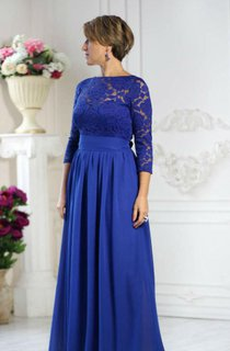 Illusion 3 4 Sleeve Lace Top Chiffon Dress