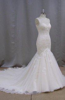 V-Neck Sleeveless Lace Mermaid Wedding Dress With Chapel Train