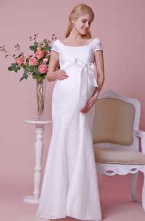Allover Lace Cap-sleeved Sheath Gown With Squared Neck and Back