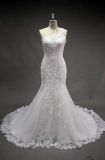 One Shoulder Lace Mermaid Wedding Dress With Court Train
