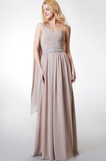Boho One-shoulder A-line Long Chiffon Dress With Pleats