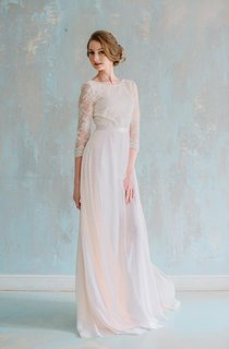 Jewel Neck 3 4 Sleeve Long Chiffon Dress With Lace Bodice and Sash