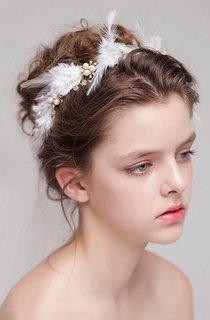 Korean Fairy Feather Rhinestone Flowers Handmade Hair Band