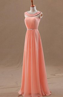 A-line Princess Sleeveless Scoop Beading Chiffon Floor-length Dresses