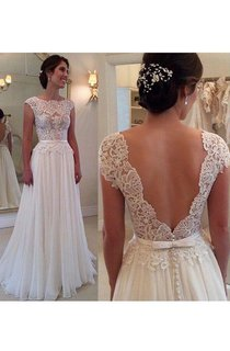 Chiffon Long Lace Open Back Wedding Dress Sleeveless Elegant