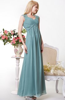 Illusion Cap Sleeves With Lace Chiffon A-line Gown