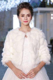 Bridal Wedding Long Sleeve Korean White Print Padded Warm Dress Fur Jacket