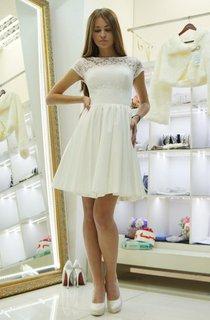 Bateau Short Sleeve Mini Lace A-Line Wedding Dress