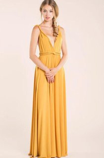 Mustard Floor-length Jersey Dress