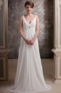 Plunged Pleated Floor-Length Dress With Beaded Waist