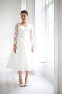 Tea-Length Weddig Dress With Keyhole Back