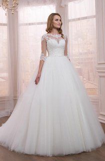 Half Sleeve Tulle Ball Gown Dress With Appliques