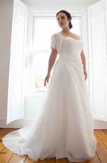 A-Line Long Sweetheart Chiffon Court Train Side Draping Dress