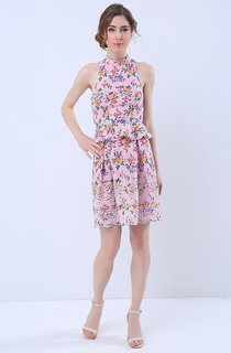 Floral Print Halter Neck Keyhole Back Peplum Short Dress