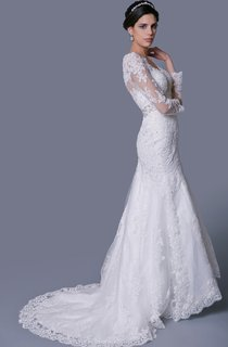 V-Neck Long Sleeve Lace Gown With Beadings and Crystal Brooch