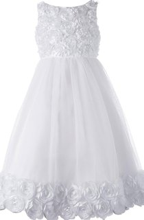 Sleeveless A-line Tulle Dress With Flowers and Pleat