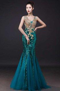 Sleeveless V Neck Sequined Long Tulle Dress