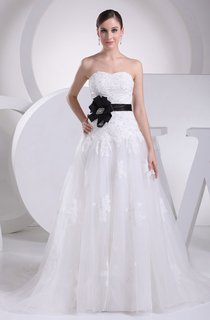 Strapless Appliqued Tulle A-Line Dress With Beading and Corset Back