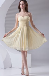 chiffon criss-cross knee-length sweetheart dress with pleats