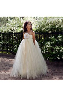 One Shoulder Pleated Tulle Gown With Flower and Beaded Detailing