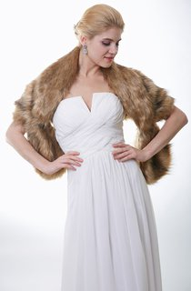 Timeless Brown Faux Fur Bridal Shawl