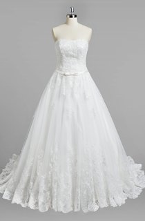 Strapless A-Line Lace Wedding Dress With Satin Belt