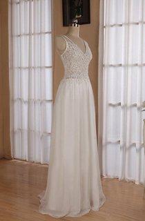 V-Neck Sleeveless Backless Floor-Length Chiffon Wedding Dress With Sequins