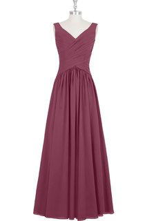 Chiffon Sleeveless V-Neck Dress With Ruched Crisscross Bodice and Pleats