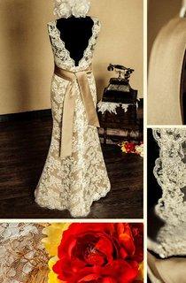 Scalloped Sleeveless Deep-V Back Sheath Satin Wedding Dress With Sash And Flower
