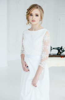 Scoop-Neck Appliqued Illusion Long Sleeve Wedding Dress With Bow