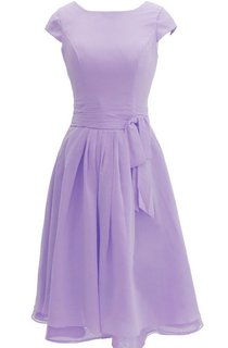 Pure Cap-sleeve Bateau Neck A-line Gown With Sash