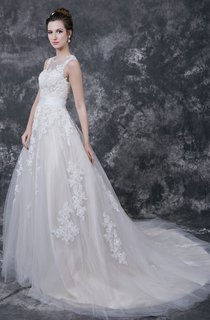 Ethereal Jewel Lace-appliqued Tulle Gown With Cap-sleeves and Illusion Backstyle