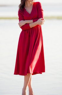 Midi Red With Wrap Around Top Dress
