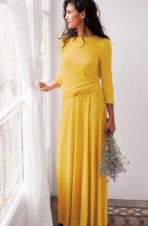 Maxi Long Sleeve Jersey&Satin Dress